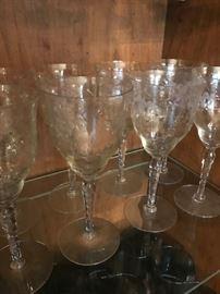 Antique Etched Crystal Goblets