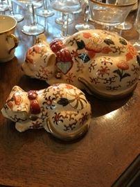 Signed Japanese Porcelain Cats