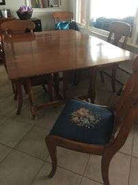 Matching maple table and chairs, Beautiful needle point seats!
