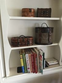 Cute little decorative storage boxes and cook books!