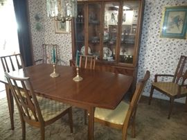 Lenoir Dining Room Suite Table With Leaf 2 Arm Chairs Side