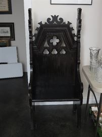 ANTIQUE BISHOP'S CHAIR FROM EPISCOPAL CHURCH IN GASTONIA, NC