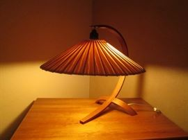 MCM Teak Bentwood Base Accent Lamp, Shade is Balsa Wood.  Very Different Design!  So Unique...