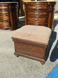 "The elegance of Mediterranean style with the warm essence of the Islands resonate through the Casa Cristina Collection by Pulaski to create beautiful, livable furniture designed for today's lifestyle. Wood Box With Brown Fabric Cushion; Top Opens for Storage; 22""W x 22""D x 19""H; $200; ref #: 19982"