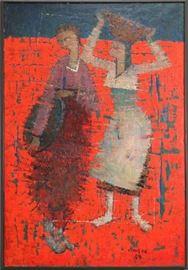 """KIM SOU (KOREAN 1919-2014), OIL ON CANVAS, 1959, H 76"""", W 50 1/2"""", """"LES DEUX AMIES"""" Lot # 2152"""