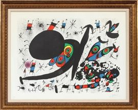 "JOAN MIRO (SPANISH 1893-1983), LITHOGRAPHS ON PAPER, 1971, SUITE OF FIFTEEN, EACH H 21 1/2"", L 29 1/2"", ""HOMENATGE A JOAN PRATS"" Lot # 2154"
