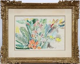 "OSKAR KOKOSCHKA (AUSTRIAN, 1886–1980), WATERCOLOR ON PAPER, ""FLOWERS"", H 20"", W 30"": Lot # 2036"