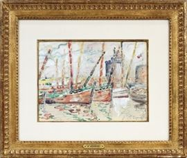 "PAUL SIGNAC (FRENCH, 1863–1935), WATERCOLOR ON PAPER, ""PORT DE LA ROCHELLE"", PORT SCENE WITH BOATS, H 10"", W 13 1/2"": Lot # 2032"