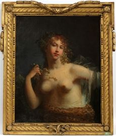 """JACQUES ANTOINE VALLIN (FRENCH 1760-1831), OIL ON CANVAS, H 31 1/2"""", W 24"""", """"BACCHANTE"""". Lot # 2021"""