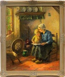 """CORNELIUS ZWAAN (NETHERLANDS, 1882 - 1964), OIL ON BOARD, WOMAN READING TO BOY, H 23.5"""" W 19.25"""" Lot # 2127"""
