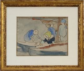 """LOUIS VALTAT (FRENCH, 1869–1952), WATERCOLOR, """"OYSTER FISHERMAN"""", FOUR FIGURES IN A BOAT, H 8 1/8"""", W 12"""": Lot # 2034"""