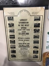 """Framed """"Concours Motorcars"""" showroom opening poster, June 15, 1982, Santa Anna, CA."""