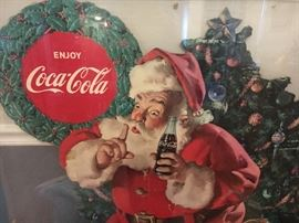 Merry Christmas from Family Tree Estate Sales! Enjoy Coca-Cola large cardboard cutout in lucite frame.