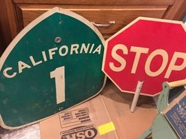 California Highway 1 sign, plastic STOP.