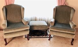 Light Green Velveteen Arm Chairs & Ottoman
