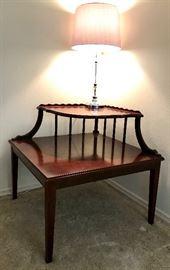 Tiered Corner Table, Lucite & Silvertone Lamp