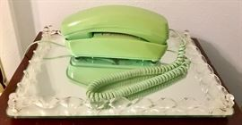 Retro Lime Green Phone, Lucite & Mirror Tray