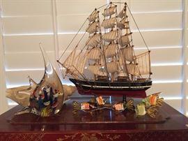 Hand Made Ship, Hand Blown Glass Fish.....