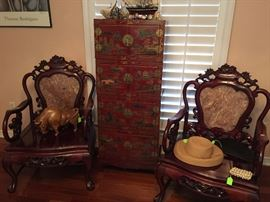 Tall Red Lacquer Oriental Chest,  Pair of Hand Carved Rosewood Chairs with Marble Insert, Hand Carved Wooden Bull