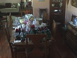 Large Pecan Dining Table with Champlain Pecan Wood Side Chairs (6), Corner Cabinet, Painted Chest, Entire Room is filled !