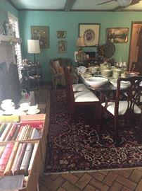 Large Persian Area Rug, Mahogany Glass Top Dining Table, Artwork, Decoratives