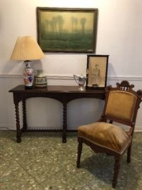 Barley Twist sofa table by Henredon, one of two matching Victorian Renaissance Revival parlor chairs, circa 1870 and Japanese art objects