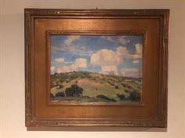 Original landscape painting by 20th Century Texas regional artist, Reveau Bassett (1897-1981) who was once a member of the Dallas Nine.  This painting was originally sold through the Joseph Strator Gallery of Dallas, TX , who handled a lot of art by members of the Dallas 9 during the 1930's and 1940's (their label is on the back) size is 12 x 16 oil on canvas board with the original gilt wood frame.  It is singed on the lower left corner.    This painting has been in the family for 3 generations.    For inquiries please call or text the phone number posted for this particular sale and ask for Brad.   (Photo by BC)