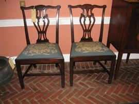 Pair Hand Made Colonial Revival Chippendale style                                 Chairs from Baltimore