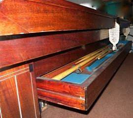 "Unique side drawer for cue sticks and accessories. 1924 Monarch Cushion pool table and accessories, excellent condition, by The Brunswick-Balke-Collender Co. Table is 56""Wx102""Lx32""H; inside measurements: 48""x93"". Note pearl inlay. Contact 314-518-1818 if interested before the sale."