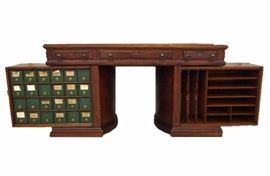 """Wooton"" Rotary Flat Top Desk - Featured in Walnut with Plaque."