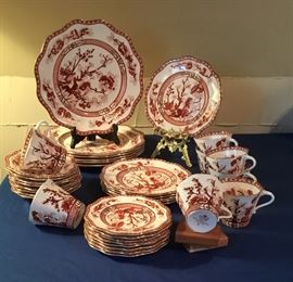 """First produced by in 1801 Coal Port """"Indian Tree Coral"""" Made in England and established in 1750.  Excellent condition with scalloped gold trim design. Unique and Rare in this condition 5 Piece Place Setting for Six.  Available is extra cups, bread dish, and desert dish."""