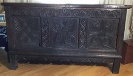 "Beautiful German Ladies Carved Dowry Chest. This is Handmade measures 53"" long, 54"" tall, and 22"" deep. Age is mid 1800s per owner."