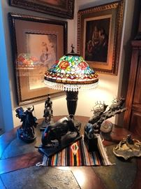 Bronze Sculptures and Tiffany Style Lamps