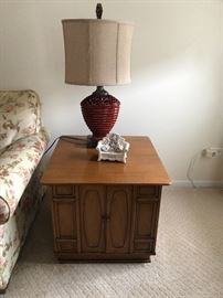 MCM pair of side tables square with 2 doors