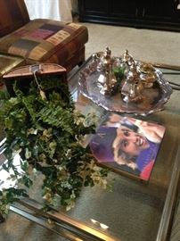 Sterling tea service; silver plate tray; Lady Diana coffee table book