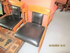 40'S TO MID 50'S OAK AND LEATHER CHAIRS