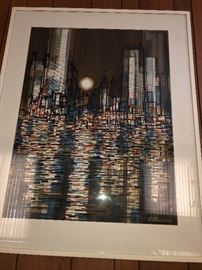"Viktor Schreckengost City Skyline watercolor: Image size 38"" x 29"", frame size 48"" x 38"". In beautiful condition!"
