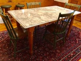 Vintage kitchen table with beautiful marble top