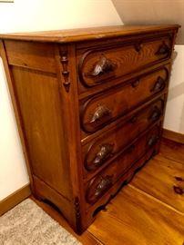 Antique 4-drawer bureau with oak hand carved pulls