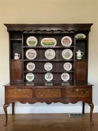 19th c French Country Stepback Cupboard Hutch