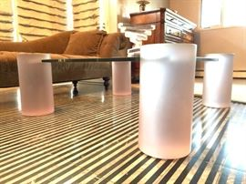 Modernist Glass Top Coffee Table with Frosted Lucite Leg