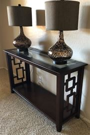 Home Elegance Sofa Table  Modern Palma Glass Table Lamp Bronze (pair)