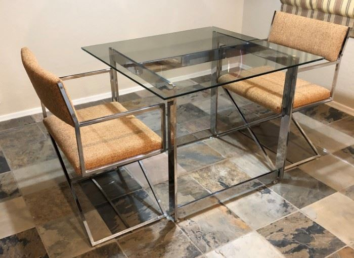 Bon Marche MCM Chrome and Glass Dining Table w 2 Chairs