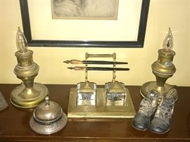 Pen and Ink well; matching antique lights, vintage desk bell and vintage baby shoes