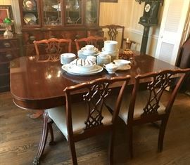 Wonderful Chippendale Style Dining room suite; table w/ 2 leaves and 6 chairs; buffet, china cabinet and server.  One of a kind!