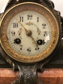 Stunning bronze clock-marble base, made in France, porcelain face on clock-Works-Works beautifully!