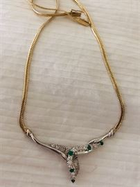 Diamond and 14K gold necklace