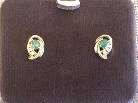 14k Gold emerald and diamond earrings
