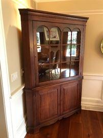 Antique individual pain glass corner cabinet