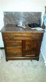 Marble Top Wash Stand w/ Matching Back Splash - Matching Dresser with same Marble on Top